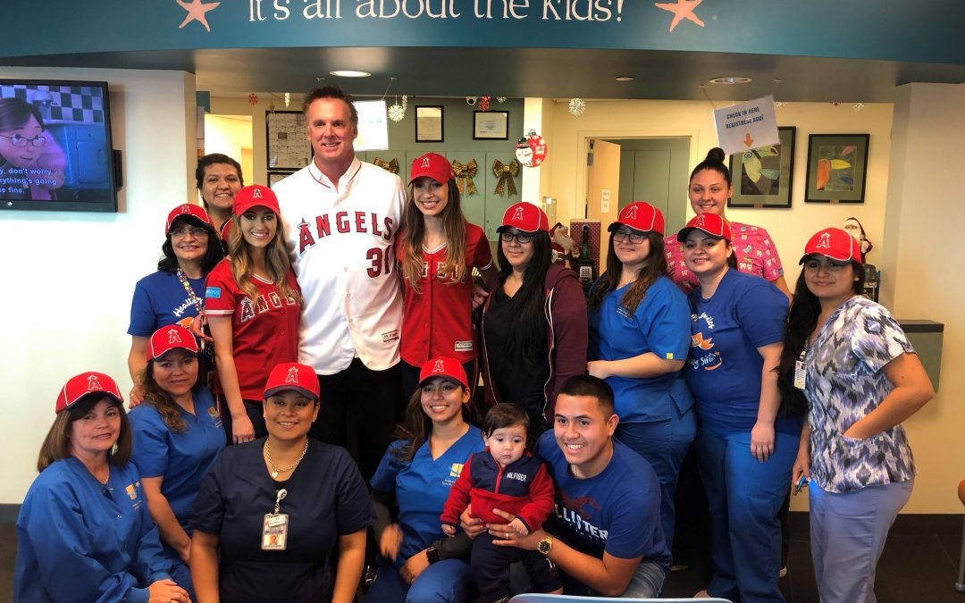 Angels Player Surprises Healthy Smiles Patients